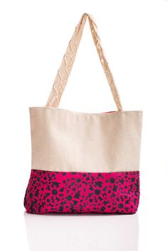 Hand Painted Pink with Black Flower Canvas Tote Bag by whitsybags, $35.00