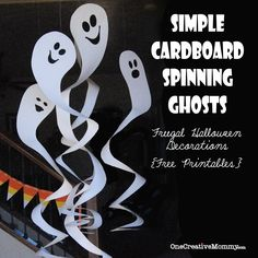 Cardboard Spinning Ghosts with free Patterns--These are so easy and cheap!  I made five for 90 cents!  (I've included a printable for tiny ghosts.)  #ghost #halloween #printable