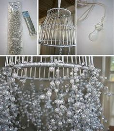 Fabulous Fifi designed this lamp made of pearl strands. Lamp made with basket, wire and pearl strands from the bridal section of Michaels. Have a safe and happy holiday weekend! Happy Birthday Flower Cake, Pearl Anniversary, Decks And Porches, Lampshades, Lampshade Ideas, Shabby Chic Decor, Cool Diy, Lamp Design, Lamp Light