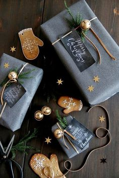 Christmas wrapping gray and gold