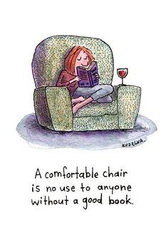 Cozy chair + good book = heaven.