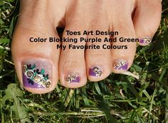 How To Toes Art Design Color Blocking Purple Green And Glitter Tutorial ...