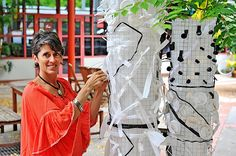 Artist Carolyn Cardinet has created art from Footscray's waste and plastic debris to highlight the problem of littering.