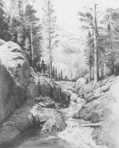 landscape drawing, art, nature, photography