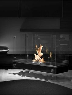 ♂ Modern design Free standing bioethanol glass fireplace DIVIDER by Vauni