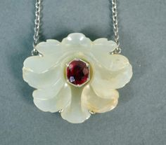 CARVED CHINESE WHITE JADE & RUBY LOTUS PENDANT : Lot 93
