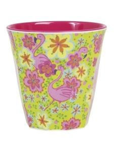 Rice Medium Flamingo Print Melamine Cup: This Medium Flamingo Print Melamine Cup can be used for hot and cold drinks, random accessories, or even as a small vase for small flowers. Perfect for a party, spontaneous picnic or for long days in the office. Flamingo Print, Pink Flamingos, Flamingo Party, Tupperware, Melamine Dinner Set, Danish Interior Design, Small Flower Pots, Happy Colors, Bunt