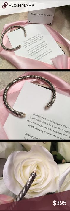 "David Yurman 5mm morganite bangle with petite pave 🌹Adorable elegant dainty bangle size medium DY 925 and in EUC.  Morganite pale blush pink and in gift condition and has been polished professionally. Fits wrist 4.75""-6"" in diameter. DY signature pouch included. Hallmark stamp in photo 3. David Yurman Jewelry Bracelets"