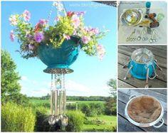Creative Ideas - DIY Strainer Planter Wind Chime #DIY #craft #garden