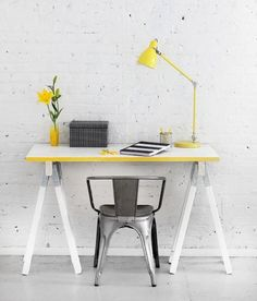 Yellow Tabletop | Metal Bistro Chair | White Brick Wall | Sawhorse Desk | Home Office | Workspace Ideas | Interior Design