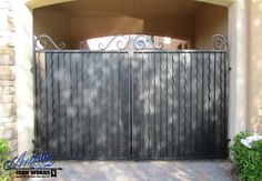 Automatic Wrought Iron Driveway Gate Model: Wimbi DG0366 Wrought Iron Driveway Gates, Double Gate, Curtains, Model, Blinds, Scale Model, Draping, Models