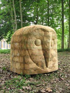 Sculpture en bois, tête de chouette en bois
