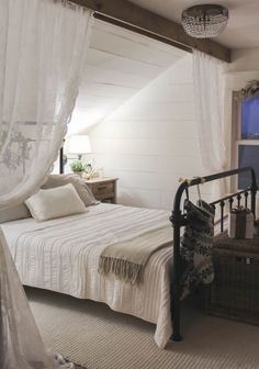 Awesome 150 Stunning Romantic Master Bedroom Design Ideas You Must Try Decoor - room divider ideas - Bedroom Decor Romantic Master Bedroom, Farmhouse Master Bedroom, Master Bedroom Design, Bedroom Rustic, Farmhouse Curtains, Master Suite, Diy Bedroom, Attic Bedroom Decor, Bedroom Curtains