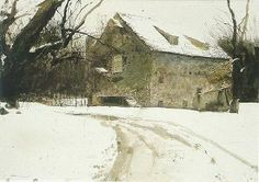Andrew Newell Wyeth - Artist, Fine Art Prices, Auction Records for Andrew Newell Wyeth Andrew Wyeth Paintings, Andrew Wyeth Art, Jamie Wyeth, Nc Wyeth, Art Aquarelle, Snow Scenes, Winter Landscape, Art Auction, American Artists