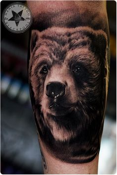 Bear tattoo done an a bear of a man in Black and Grey. Mania Tattoo Blackpool