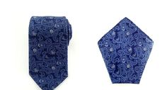 Mens Necktie Dark Blue Violet Paisley 8.5 CM Necktie with Pocket Square.