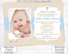 Lamb Baptism Invitation - Boy First Birthday Christening Baptismal Baby Tan Beige Blue Sheep Photo Picture Personalized Printable by MarysPartyDesigns on Etsy Baby Dedication Invitation, Baptism Invitation For Boys, Christening Invitations, Clipart, First Birthdays, Projects To Try, Reception, Diy, Baby Shower