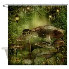 Illustration about Enchanted forest with mushrooms and fairy lanterns. Illustration of vines, fairy, night - 18571850 Fairy Land, Fairy Tales, Fantasy World, Fantasy Art, Fantasy Places, Creation Image, Elfen Fantasy, Fantasy Landscape, Magical Creatures