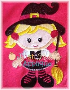 Witch for Halloween Applique Machine by JustPeachyApplique on Etsy, $4.00
