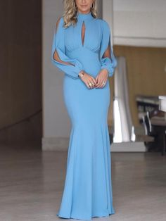 Elegant High Collar Chiffon Mermaid Prom Dress,Charming Long Sleeve blue Evening Dress in 2020 Evening Dresses With Sleeves, Blue Evening Dresses, Party Wear Frocks, Party Dresses, Elegant Dresses, Formal Dresses, Casual Dresses, Fishtail Dress, Trend Fashion