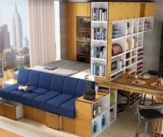 Compact living in all its facets- futon sofa bed and bookshelf as a room divider. Creates a nice living room/bedroom or guest room and the bookshelf provides a decorative storage unit.