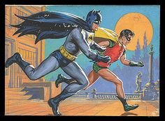 "1966 Topps Batman Original Card Artwork (Norm Saunders) #28 ""Let's Go"""