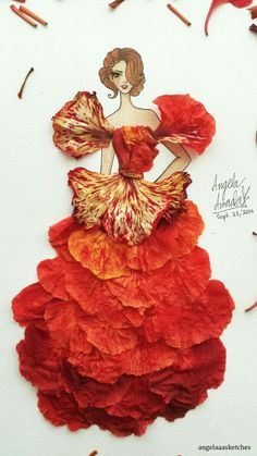 Floral Art - Flower Fashion 4 (Details) by angelaaasketches on deviantART Arte Fashion, Floral Fashion, Dress Card, Pressed Flower Art, Dress Drawing, Amazing Drawings, Leaf Art, Fashion Sketches, Fashion Illustrations