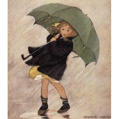 Good Housekeeping Apr 1922 Rainy day Canvas Art - Jessie Willcox Smith (18 x 24)