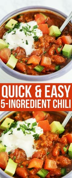 This 5-ingredient chili cooks up quickly in one pot for a hearty, satisfying weeknight meal! #recipes #healthyrecipes #chilirecipes #healthyliving