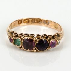 """Antique Regard rings are so wonderful, romantic and have such a charm of yesteryear and are becoming increasingly hard to find. Regard rings are so called because the first letter of each gemstone spells out the word """"regard"""" with a Ruby, Emerald, Garnet, Amethyst, Ruby and a Diamond at the end. This particular Regard ring is from the Victorian era and was made in 1864."""