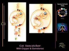 Cat, suncatcher, garden decoration, copper,gemstones,mother,gif Hippie Home Decor, Bohemian Decor, Tree Agate, Grandmother Gifts, Deck Decorating, Window Art, Sun Catcher, Birthstone Jewelry, Peridot