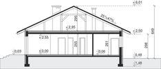 Przekrój Dom przy Słonecznej 8 CE Diy Home Crafts, Bungalow, Floor Plans, Cottage, House Design, Flooring, How To Plan, Furniture, Home Decor