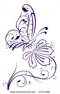 Details about Butterfly on Flower Outline Floral Wall Decal Wall Stickers Transfers Flower Outline D Wood Burning Patterns, Wood Burning Art, Wood Burning Projects, Wood Projects, Outline Drawings, Art Drawings, Outline Art, Flower Outline, Plant Drawing