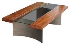 "Shown As:56"" x 32"" x 18""TallTop built in reclaimed wood3/8"" thick middle glass insetTop is finished in a natural stain with a satin lacquer Steel legs finished"