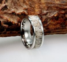 Titanium Ring inlaid with Deer Antler makes a by jewelrybyjohan