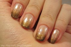 gold sparkle ombre over neutral