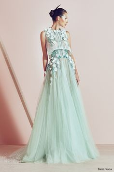 basil soda couture 2015 dress green tulle sheer aline gown