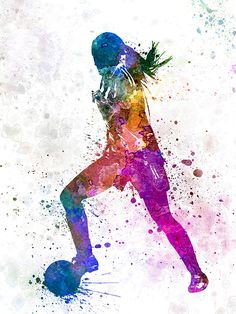 'Girl playing soccer football player silhouette' Photographic Print by paulrommer - Parede de futebol - Soccer Pro, Sports Basketball, Soccer Games, Play Soccer, Football Players, Basketball Tattoos, College Basketball, Soccer Ball, Art Football