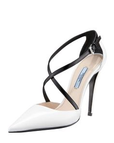 """Prada """"Bi-Color Decollete Crisscross Pump"""" in white-and-black leather, with a pointed toe, a buckle-fastened crisscross ankle strap and a very high covered stiletto heel 