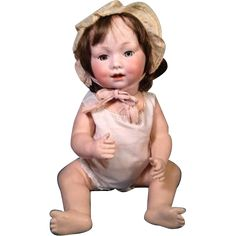 """19"""" Antique Bisque Head Bent Leg Baby Doll GB 327 // A 10 M Armand from marywhite on Ruby Lane"""