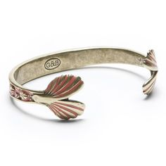 Giles & Brother's Mermaid Cuff in Antique Brass & Red