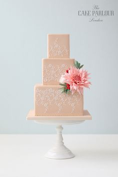 The description says that the pattern is stenciled on but it still takes quite an eye to put this together. Kudos to the decorator!  ===  Beautiful bespoke award-winning wedding cakes designed and created with love by Zoe Clark and her team at The Cake Parlour.