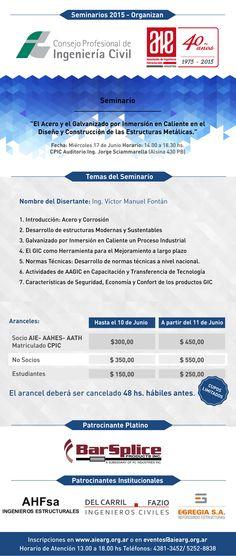 17 de junio, Seminario El Acero y el Galvanizado por Inmersión en Caliente en el Diseño y Construcción de las Estructuras Metálicas | AIE – Asociación de Ingenieros Estructurales