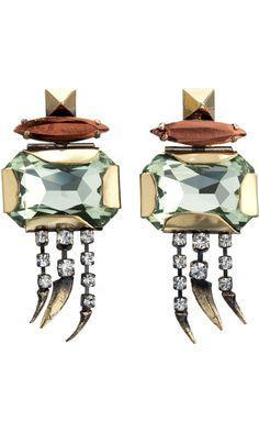 Iosselliani Green Stone Short Earrings