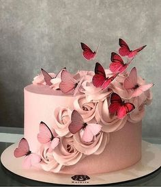New Cupcakes Decoration Butterfly Pretty Cakes Ideas Butterfly Birthday Cakes, Beautiful Birthday Cakes, Butterfly Cakes, Beautiful Cakes, Cakes With Butterflies, Elegant Birthday Cakes, Birthday Cake With Flowers, Buttercream Cupcakes, Fondant Cakes