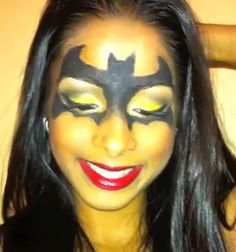 Batman or Batwoman Halloween makeup style for girls