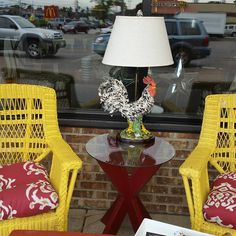 I just love this most funky one of a kind Rooster lamp, and it looks awesome with these canary yellow chairs. https://www.instagram.com/p/BI-5t3lhgmo/#utm_sguid=126328,61065728-3d75-a5c7-6163-3836a1578960