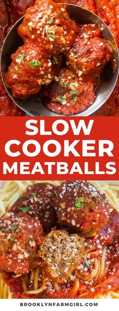 Easy to make Slow Cooker Meatballs cooked in a tomato sauce, ready in 6 hours. Serve with spaghetti for a simple Italian meal. Italian Recipes, Italian Dishes, Crockpot Recipes, Easy Meat Recipes, Meatball Recipes, Tomato Sauce, Cheese Spaghetti, Ground Beef, Cravings