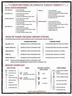 Ultimate Crochet Cheat Sheet featured in 20 more yarn hacks to make your next project even easier! Crochet Instructions, Crochet Diagram, Basic Crochet Stitches, Crochet Chart, Crochet Basics, Crochet For Beginners, Filet Crochet, Crochet Hooks, Crochet Patterns