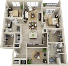 3d 2 bedroom apartment - Google Search